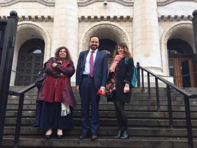 Aneta Genova (MDAC Lawyer), Oliver Lewis (MDAC Executive Director) and Oana Girlescu (MDAC Lawyer) on the steps of Bulgaria's Supreme Court in Sofia